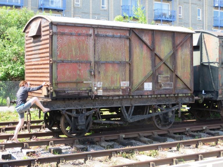 Tam boarding the train